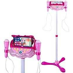LVPY Microphone pour Enfants, Réglable Enfants karaoké Micro Musical Jouet avec 2 Microphones Micro Karaoke Jeu Cadeau pour Enfants - Rose