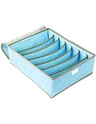 QHGstore 7 celdas Ropa interior Calcetines Corbatas Divisor de almacenaje del organizador del compartimento azul