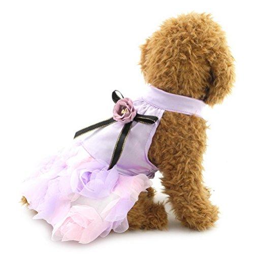 zunea Prinzessin Kleid für kleine Pet Luxus Hund Katze Floarl Satin Kleid Hochzeit Party Kleid (Fashion Luxus-wear)