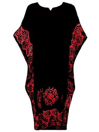 Black & Red Batik Cotton Kaftan Dress to fit Size 16-18-20