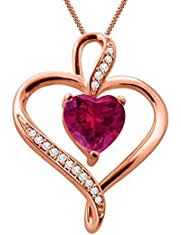 Silver Dew 925 Pure Silver Rose Gold Plated CZ Diamond Ruby Double Heart Ladies & Women's Pendant