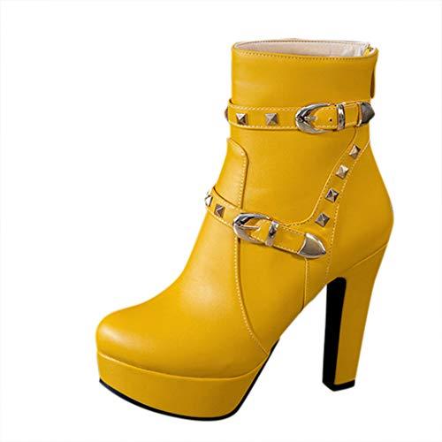 COZOCO Damen Runde Kopf Dicke Ferse Stiefel wasserdichte Plattform High Heel Stiefel Classic Solid Buckle Kurzschaft Stiefel(gelb,43
