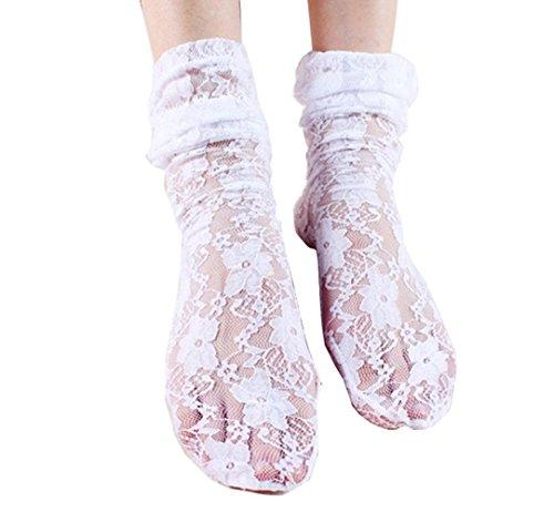 Damen Sommer Rüsche Hohe Socken Transer® Mode Ultradünne Lace Mesh Transparente Acryl + Spitze Socken Einheitsgröße (Weiß) (Knie Socken Spitze Hohe)