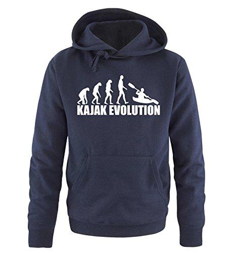 Comedy Shirts KAJAK EVOLUTION -Herren Hoodie in Navy/Weiss Gr. XL