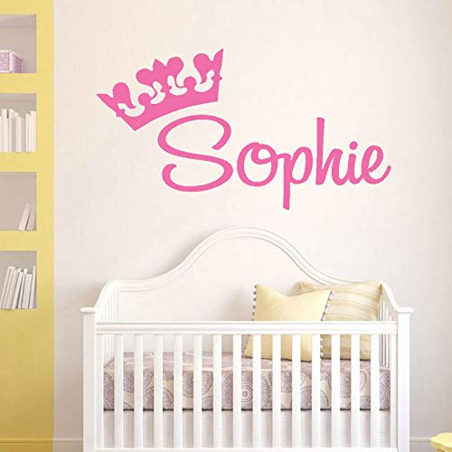 57x31cm Günstige Verkauf Personalisierter Name Decal Princess Crown Custom Name Graphic, Mädchen Kinderwagen Wanddekal, Zimmer Vinyl Sticker Murals -