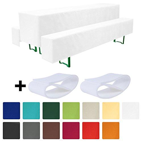 Beautissu® Comfort M gepolsterte Bierbank-Hussen & Tisch-Husse 5 tlg. Set für 70cm breite Bierzeltgarnitur Weiß