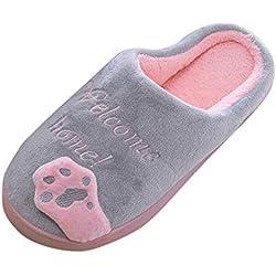 BaZhaHei Zapatillas de Invierno para Mujer Zapatillas de casa de Dibujos Animados Antideslizantes Calientes Interiores Zapatos para el Piso Señoras Gato de Dibujos Animados cálido algodón Zapatos