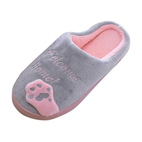 Suitray Herren Damen Winter Hausschuhe Warm Plüsch rutschfeste Pantoffeln