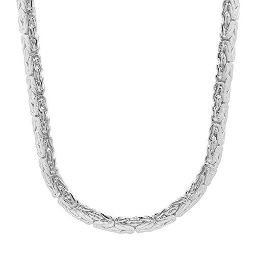 6.1mm 925 Sterling Silber 2.4mm Dicke Bali Byzantinische Link Italienische Kette
