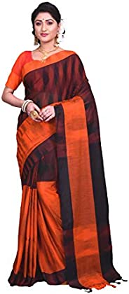 T.J. SAREES Women's Handloom Silk Blend Saree With Blouse Piece (TJC0016_Bl
