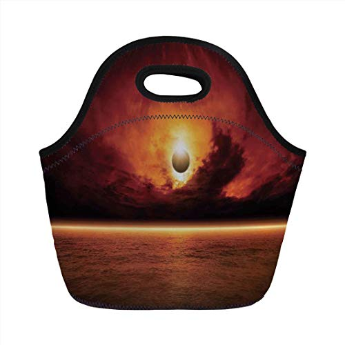 Jieaiuoo Portable Lunch Bag,Mystic House Decor,Dramatic Apocalyptic Sun Eclipse View with Dark Red Sky Sea Horizon Decorative,Orange and Yellow,for Kids Adult Thermal Insulated Tote Bags