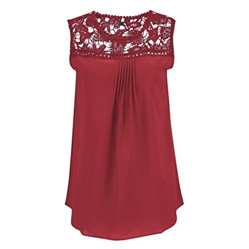 OSYARD Damen Mode Sommer Übergröße Solide Ärmellos Blusen Chiffon Spitze Sleeveless Patchwork O-Neck Tops T-Shirt(EU 44/XL, Rot)