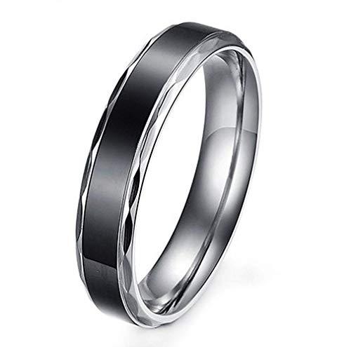 XCXZM Hochzeit Versprechen Bands einfache Weinlese Edelstahl Ringe für Herren (18k Band Gold Hochzeit)