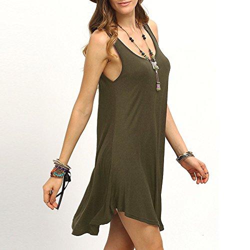 Longra Donna Senza maniche di colore puro vestito di un pezzo Army Green