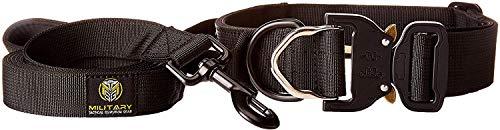 MTSG militärisches taktisches Survival-Halsband für Hunde, flaches Halsband und 1,8 m Leine, Small-Medium, schwarz