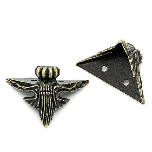 Housweety 10 Protecteurs pr coin livre/valise motif bronze 4.1cmx2.3cm