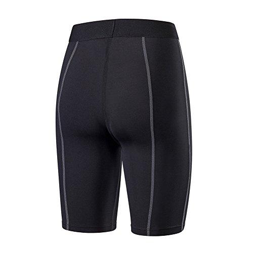 iBaste Pantalon Court pour femme Short de Compression Noir Noir