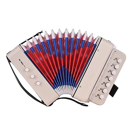 Akkordeon für Kinder Kinder Anfänger Studenten Musik Akkordeon mit Riemen 7 Tasten 2 Bass Mini Größe Akkordeon Instrumente Kleine Pädagogische Band Musikspielzeug Kinder Geschenk Weiß Musiksammlung