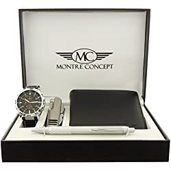 CCPA765 Montre Concept Orange-Men's Watch Gift Set with Multi-function Knife, Wallet and Pen