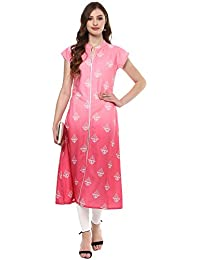 Ziyaa Women's Pink Coloured Digital Ethnic Printed Aline Party Wear Crepe Kurta (ZIKUCR1973)
