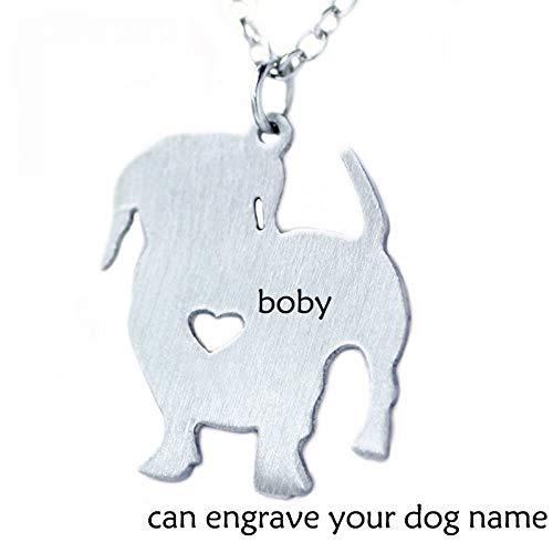 LIUSHUGUANG Basset Hound Dog Edelstahl Halskette, benutzerdefinierte Cartoon Haustier Hundehalsband, kann Tierhalsband Namen gravieren,Silver -