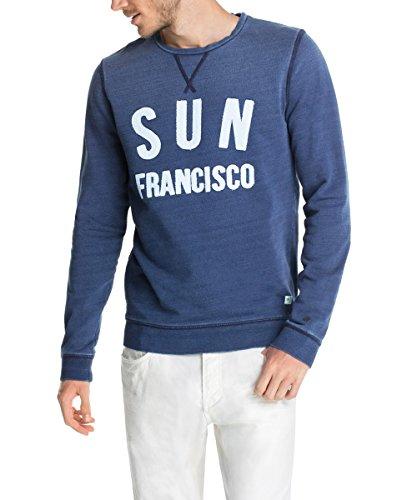 ESPRIT Herren Slim Fit Sweatshirt mit Artwork Blau (INDIGO 372)