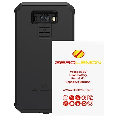 LG G3 Extended Battery, ZeroLemon LG G3 8500mAh Extended Battery with Rugged ZeroShock Rugged Case (Fits All Mobile Versions of LG G3) - Black