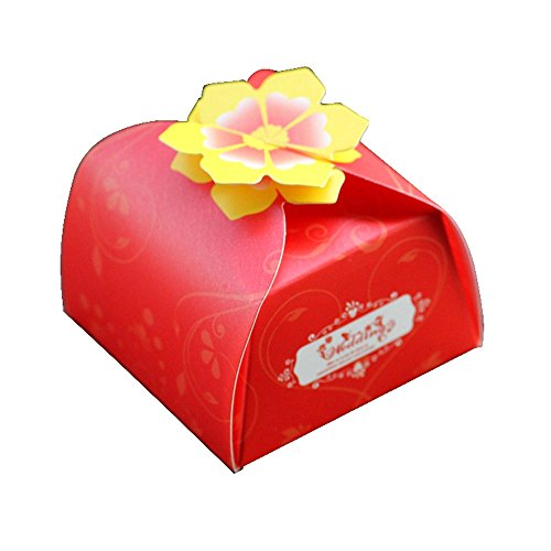 moleya 50PCS DIY Hochzeit Favor Candy Boxen Baby Dusche Geschenke Gastgeschenken Boxen, Papier, geprägt, Papier, Rot, 3.15*3.15*1.97 inch