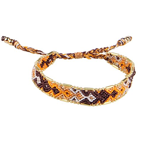 KELITCH Rustikal Charme Gemischt Farbe Woven Welle Streifen Freundschaft Armband WickelArmband (8in Lange Welle)