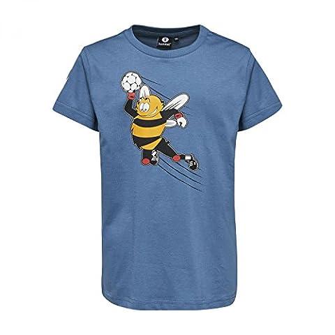 Hummel T-Shirt Druck Jungen - JUNIOR V KEVYN SS TEE - Trainingsshirt Baumwolle kurze Ärmel - Fitnessshirt Freizeit & Sport - Shirts 104-164 div. Farben Rundhals, Copen Blue, 116