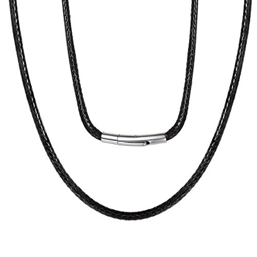 ChainsPro Joya de Moda Collar Especial de Cuerdas Enceradas de Cuero Flexible Negro Cierre Acero Inoxidable Selección de Aniversarios