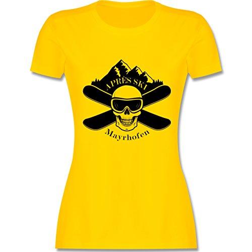 Après Ski - Apres Ski Mayrhofen Totenkopf - tailliertes Premium T-Shirt mit Rundhalsausschnitt für Damen Gelb