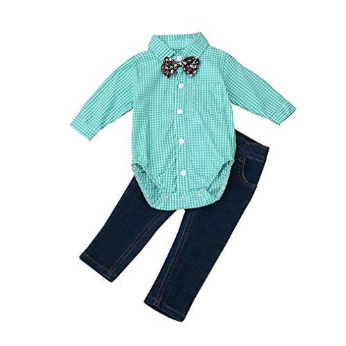 Babykleidung Kleinkind Kinder Baby Jungen Outfit Kleider Krawatte Plaid Tops Shirt + Jeans Lange Hosen 1Set(1-5Jahre) (100CM 3-4Jahre, Green) - Green Plaid Blazer