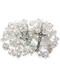 0e5713d5bc0f Nazareth Market Store Medalla de Suelo Santo Cristal Granos Rosario  católico Collar con crucifijo