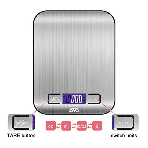 ADORIC Bilancia Digitale da Cucina, Bilancia Digitale Elettronica da Cucina con Alimenti 5kg/11lb e Acciaio Inossidabile(Argento) - 2