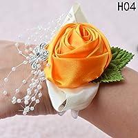 Shjiegan interesting Bead Bracelet Wedding Vogue Hot Wrist Bridemaid Crystal Prom Flower(None orange)