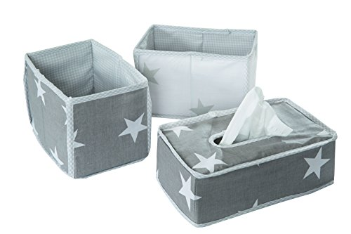 roba 'Little Stars' 3-piece Care Organiser Set, Storage Box Set, 2Boxes For Nappies and Changing Products, 1Decorative Box for Wet Wipes