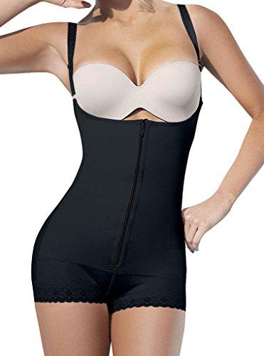 Camellias Damen Body Shaper Nahtlos Offene Büste Shapewear mit zipper Ösen Verstellbare Bodysuit Figurformende Unterwäsche Schwarz&Beige, UK-SZ7102-Black-XL