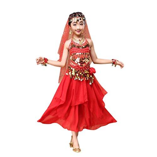 ropa de Danza del chica, Switchali infantil bebé Niña moda gasa Danza del vientre Equipar Disfraz de India Danze chaleco + Falda para Chicas vestido 2 Piezas Conjunto trajes (Small, Rojo)