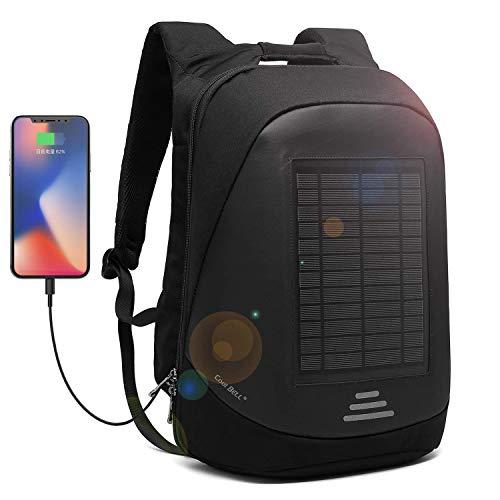 CoolBell Solar-Panel Rucksack mit USB Ladeanschluss Stadt Anti-Diebstahl Tasche Functional Knapsack wasserdicht Outdoor Daypack Schulrucksack 15,6 Zoll Laptop Rucksack für Herren/Damen(Schwarz)