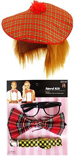 labreeze Nerd Kit Brille Fliege Hosenträger Ingwer Schottische Hut mit Haarverkleidung - Nerd Kostüm Kit
