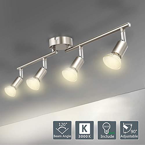 LED Deckenlampe Küchenleuchte Deckenleuchte Esszimmerlampe Modern Deckenstrahler 4 Flammig Wohnzimmerlampe Decken Küchenlampe für Flur Küche Esszimmer Wohnzimmer und Schlafzimmer GU10 Warmweiß 4 x3W