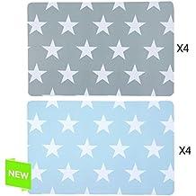 JUEGO DE 4 o 6 INDIVIDUAL PLÁSTICO ESTRELLAS 2M (Azul Pack X4)
