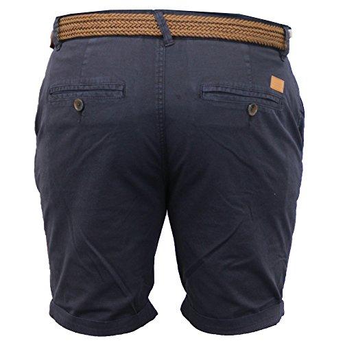 Hommes Chino Shorts Threadbare Avec Ceinture Pantalon Hauteur Genou Coton RouléÉté Neuf Marine - SMW021PKA