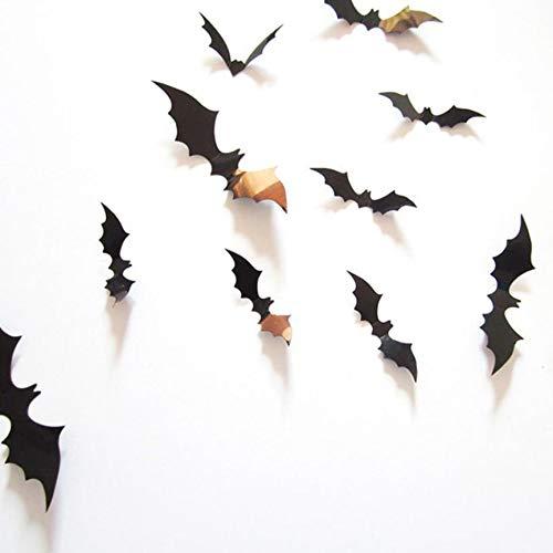 VCB 12pcs dreidimensionale Bat Wandaufkleber Halloween Dekoration - Schwarz