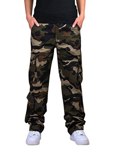Menschwear Herren Cargo Hosen Freizeit Multi-Taschen Military pantaloni Ripstop Cargo da uomo (42,Grün Camouflage ) (Camo Military Woodland Shorts)