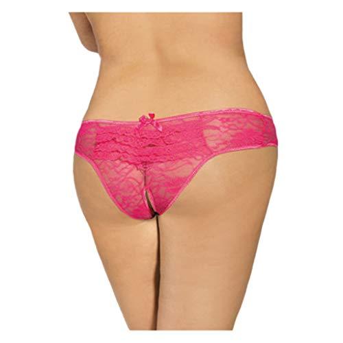 Damen Sexy Strings Spitze Unterwäsche Tanga Slips Panties Soft Hipster Frauen Women Unterhosen Elegance Brazil Slip mit Transparenter Blütenspitze -