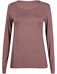 New Ladies Plain Stretch Fit Long Sleeve Womens T-Shirt Round Neck Basic Top Light Brown Size 12 - 14