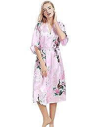 Free Fisher Mujer pijama ropa de dormir Corto satén albornoz kimono Bata de Pavo & Flores, Pink XXXL