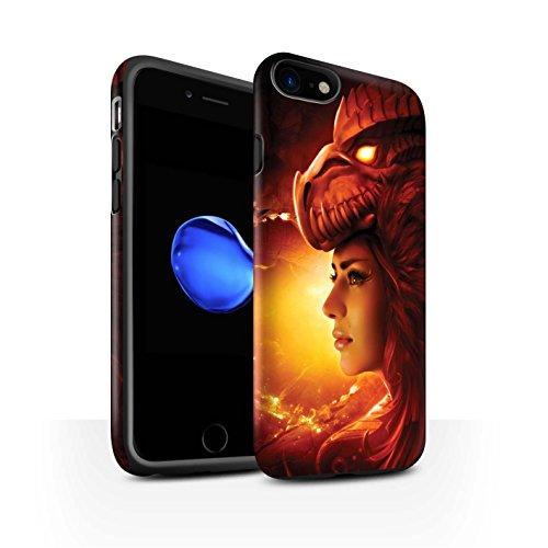 Officiel Elena Dudina Coque / Matte Robuste Antichoc Etui pour Apple iPhone 8 / Robe Feu Design / Dragon Reptile Collection Fille Rouge